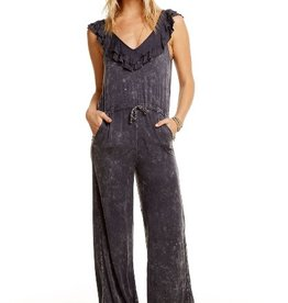 chaser heirloom woven double ruffle wide leg jumpsuit