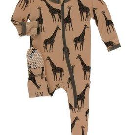 kickee pants suede giraffes footie with zipper