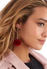 two's company pom  pom fur earrings