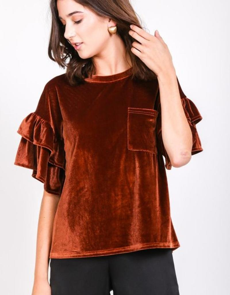 4e2e9a6c3 very j velvet ruffle sleeve top - Stash Apparel and Gifts