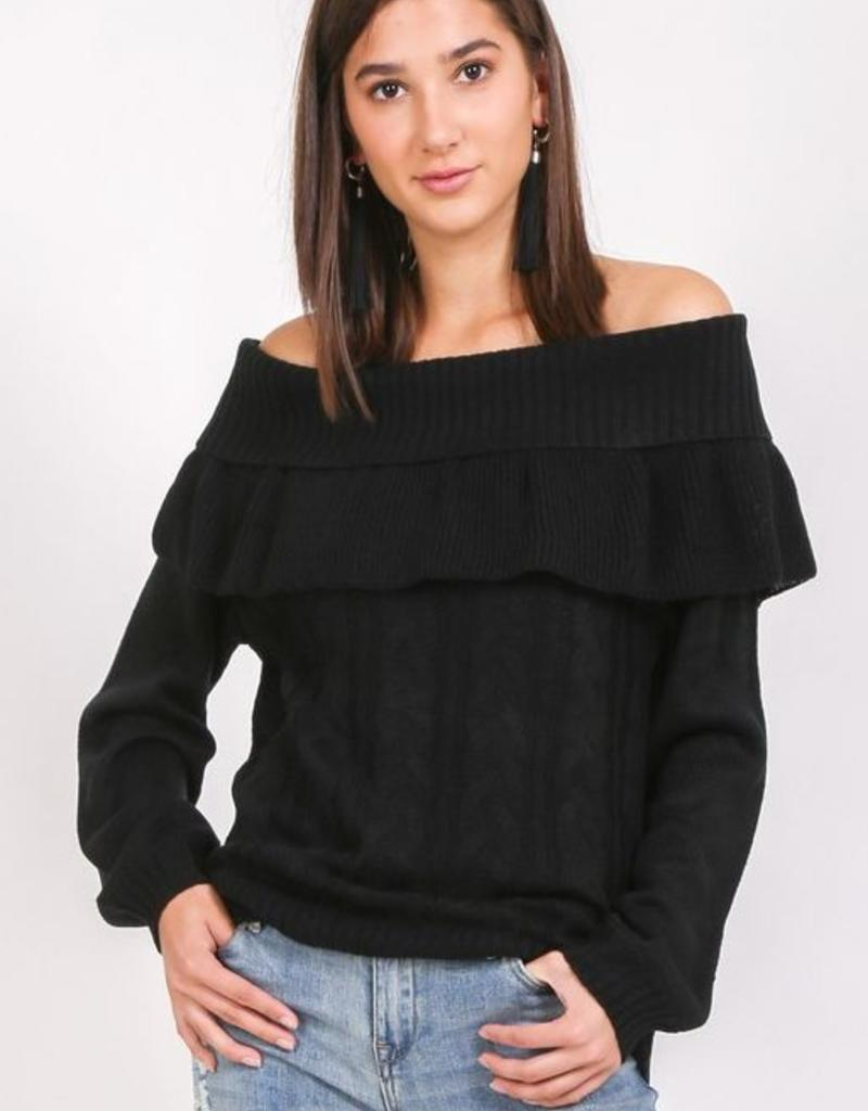 ruffle off shoulder sweater