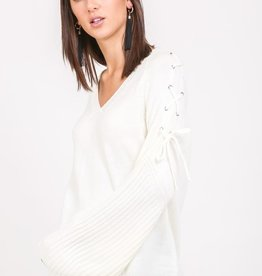 very j laceup bell sweater FINAL SALE