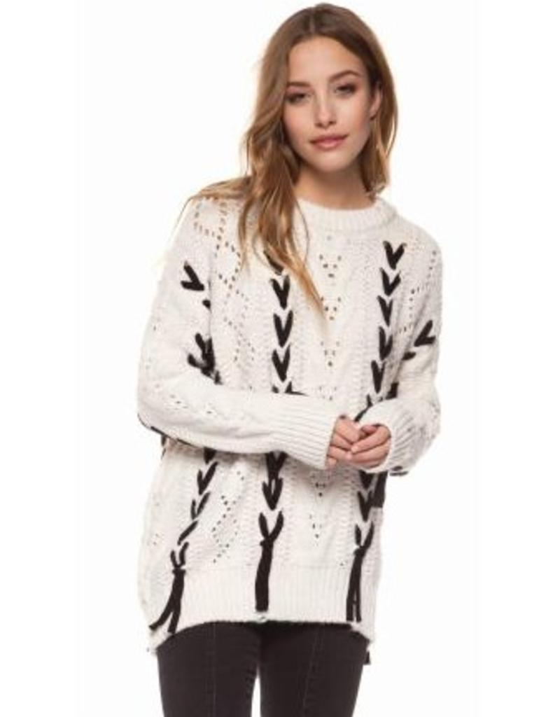dex cable knit laceup sweater