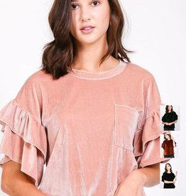 very j velvet ruffle sleeve top