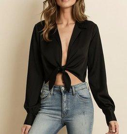 tie front satin blouse