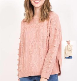 pom cable knit sweater