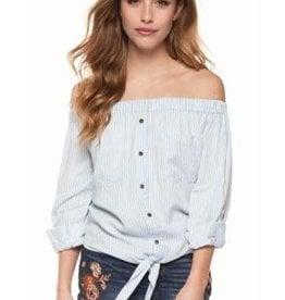 dex off shoulder tie front blouse