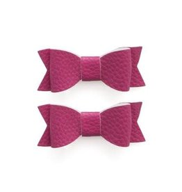 Baby Bling 2pk leather bow tie clips: pink