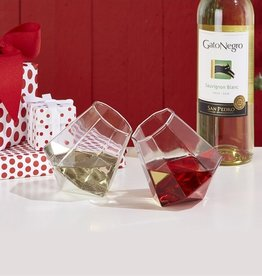 two's company diamond stemless wine glass