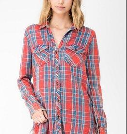 tess frayed plaid shirt