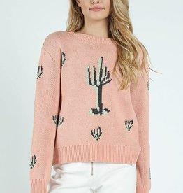 wild honey prickly cactus print sweater FINAL SALE