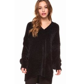 dex v neck long sleeve chenille tunic FINAL SALE
