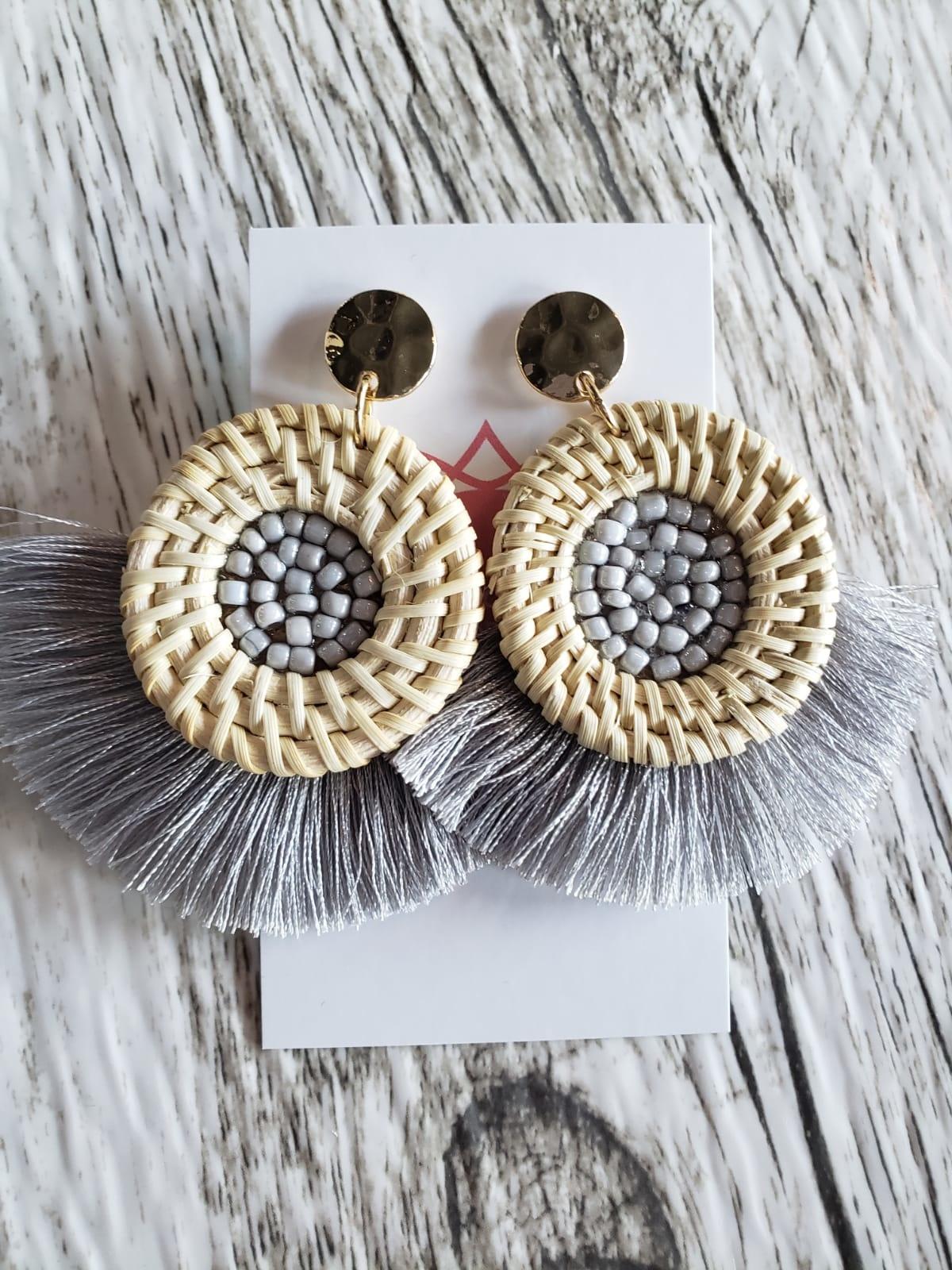 Wicker & Tassel Earrings