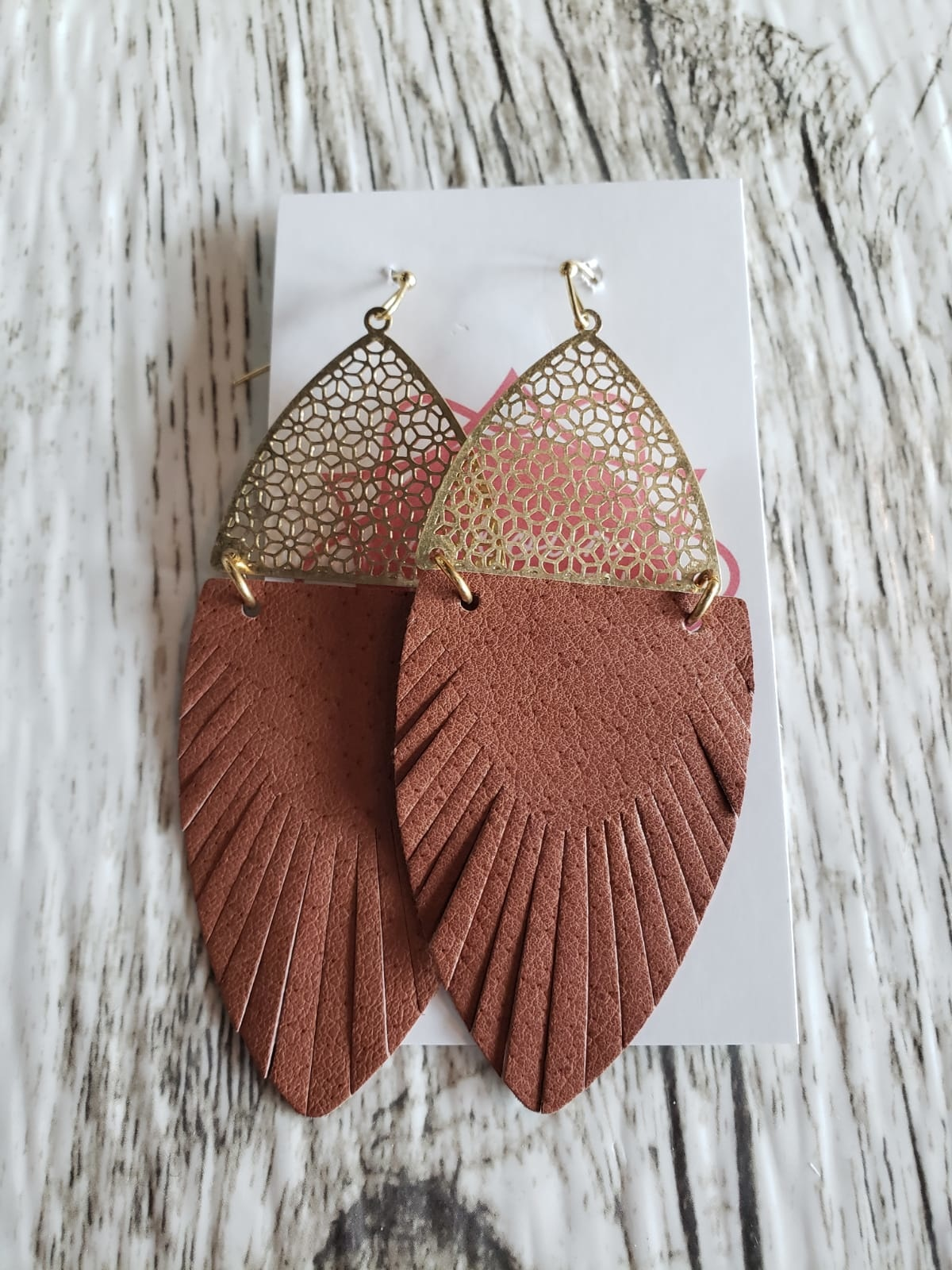Leather & Metal Drop Earrings
