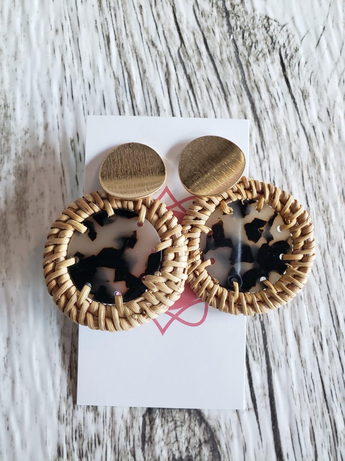 Straw Trim Leopard Earrings