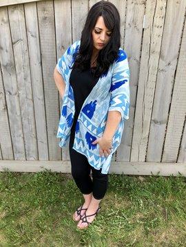Aqua Blue Silhouette Kimono
