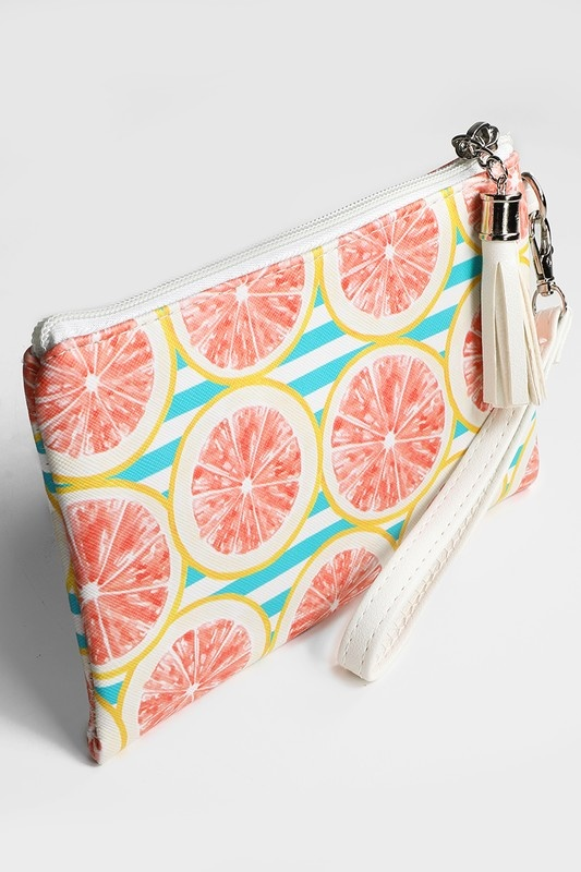 Grapefruit Mini Zipper Clutch