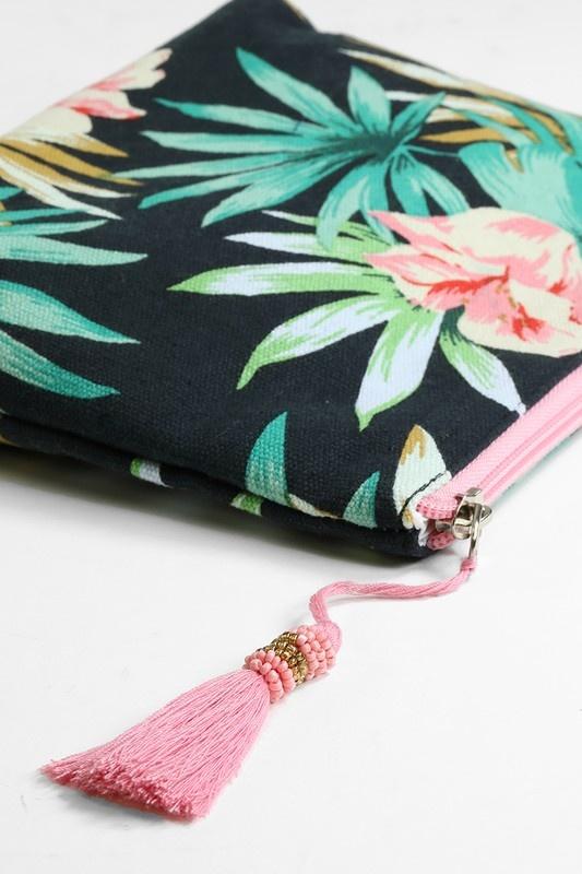 Leaf Print Cosmetic Bag