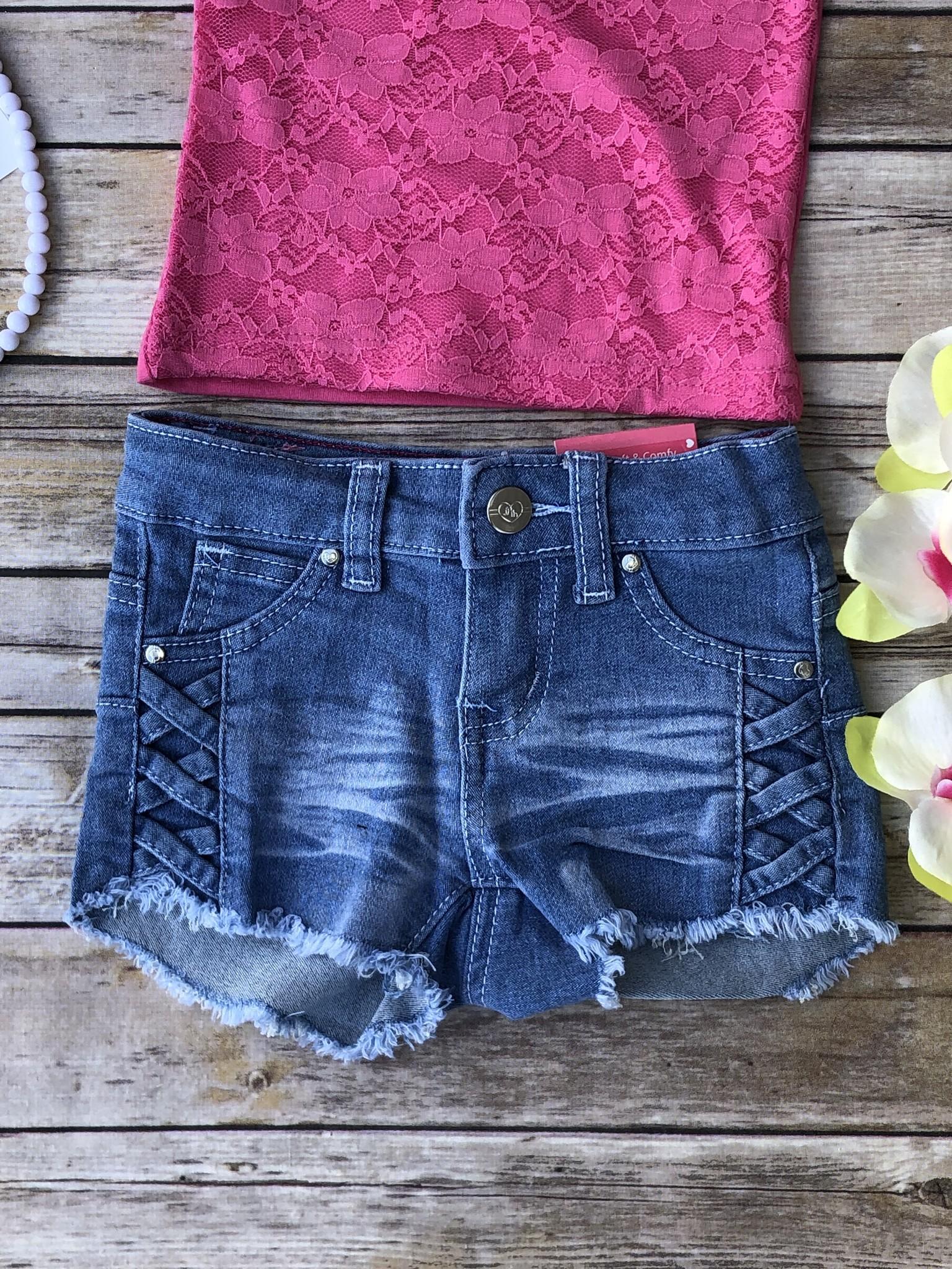 Criss Cross Denim Shorts