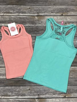 Laced Floral Tank Salmon
