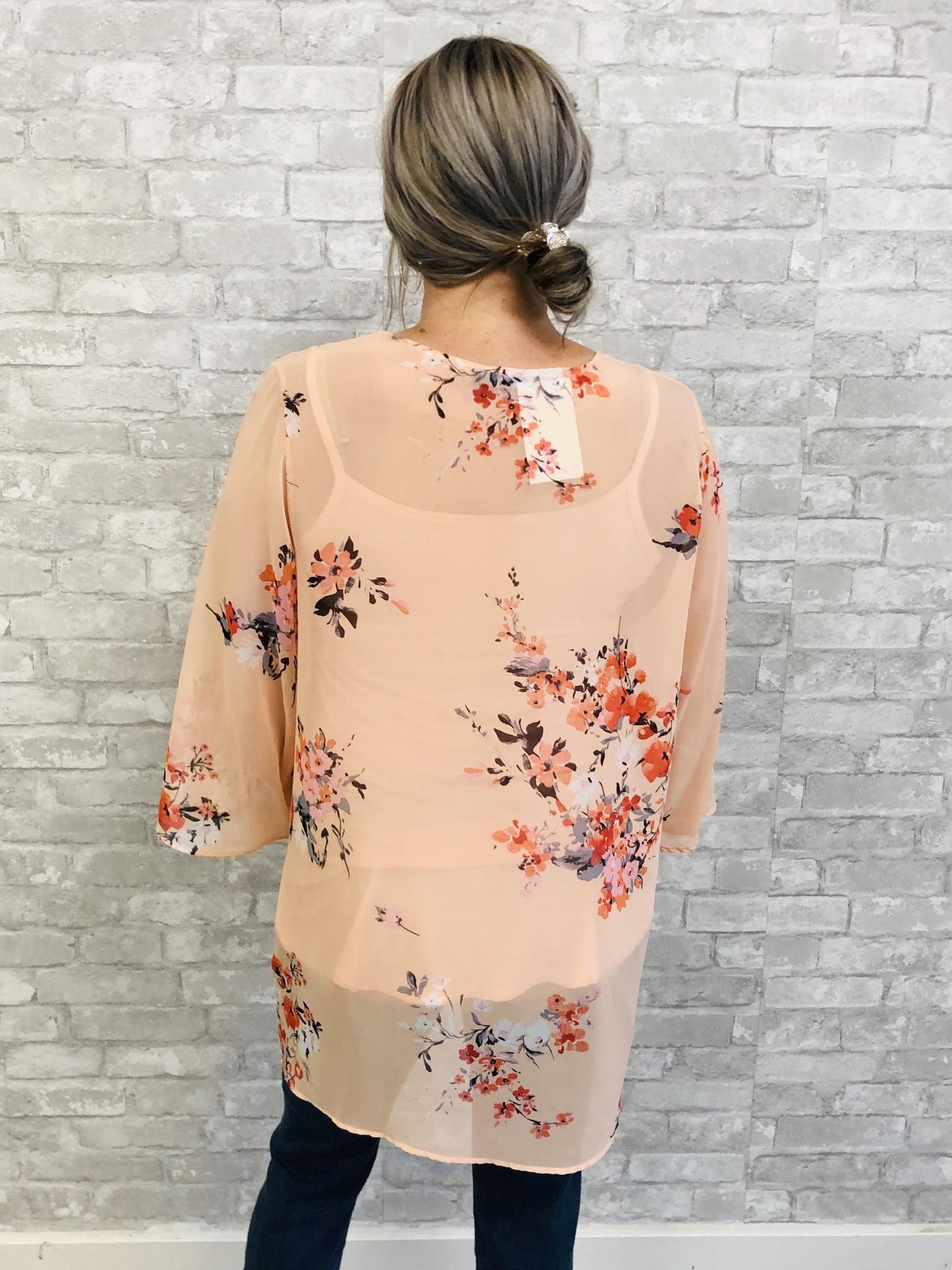 Peaches & Floral Kimono