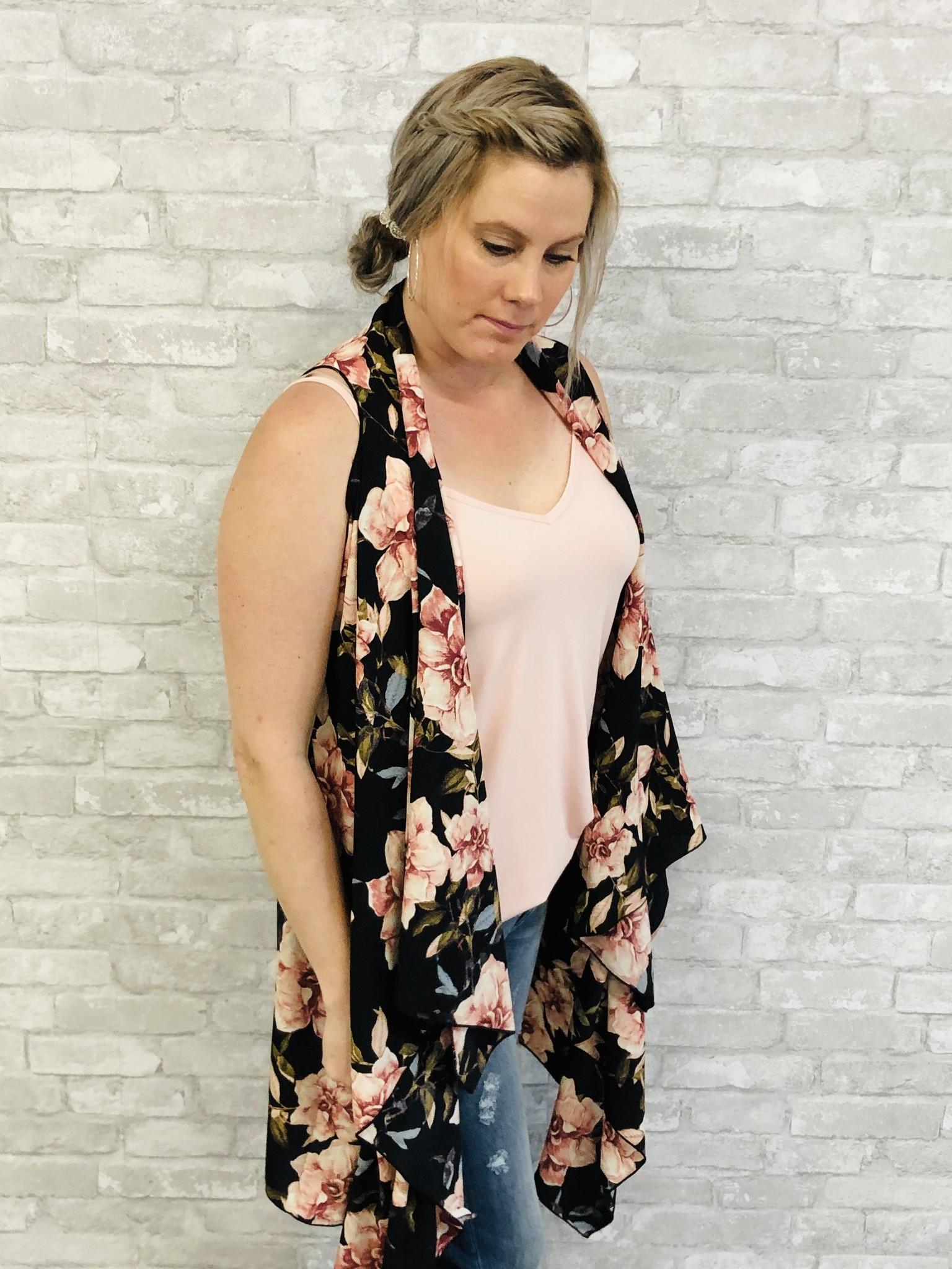 Floral Sheer KImono Vest