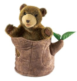 Folkmanis Puppet, Bear in Tree Stump, 2904