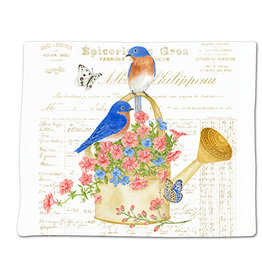 Alice's Cottage Flour Sack Towel, Single, Bluebirds, Made in USA, ACU34497