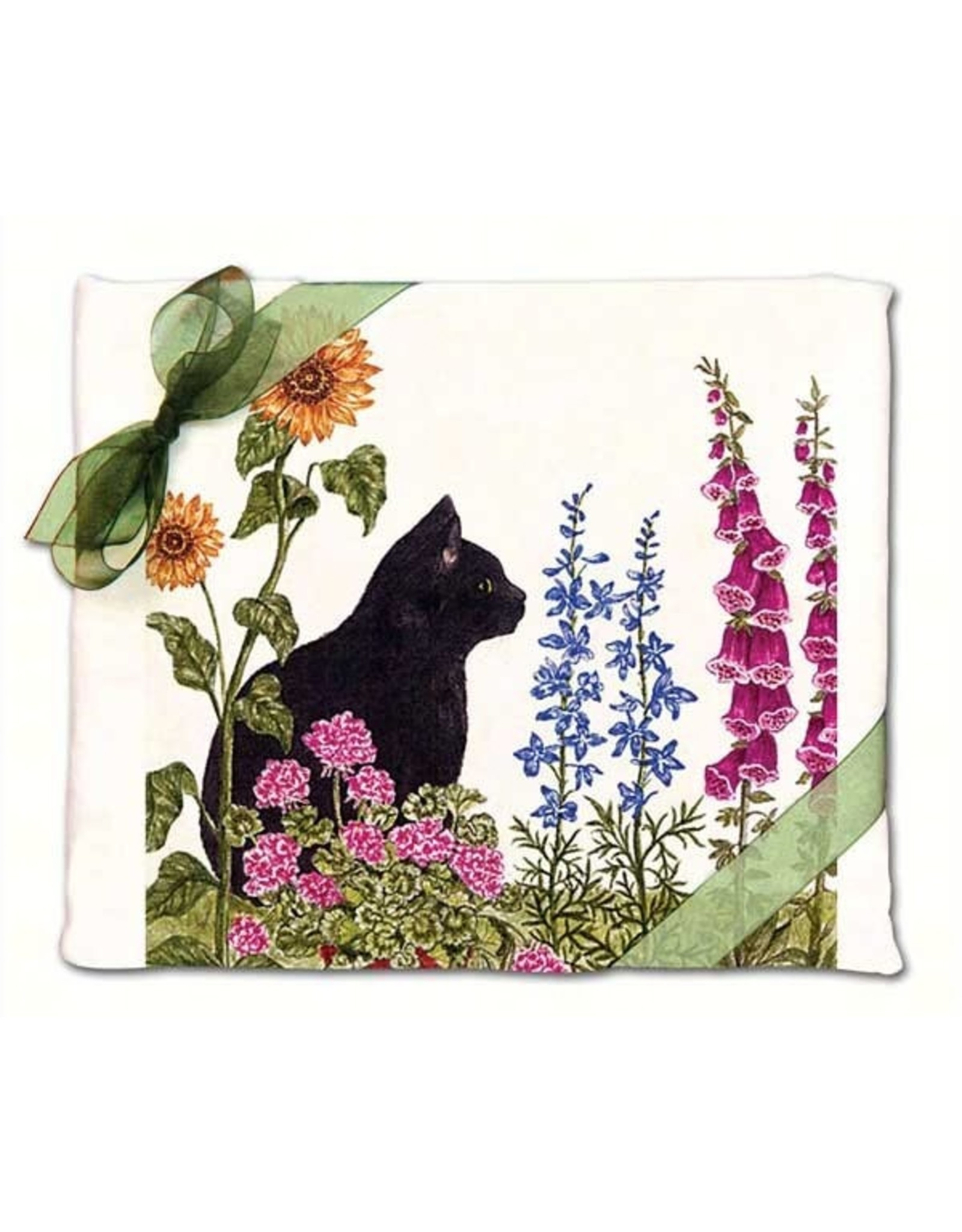 Alice's Cottage Flour Sack Towels, 2 Pack, Black Cat with Flowers, Made in USA, AC3414