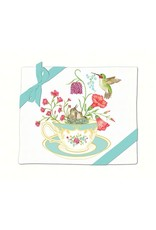 Alice's Cottage Flour Sack Towels, 2 Pack, Teacup with Hummingbirds, Made in USA, AC34476