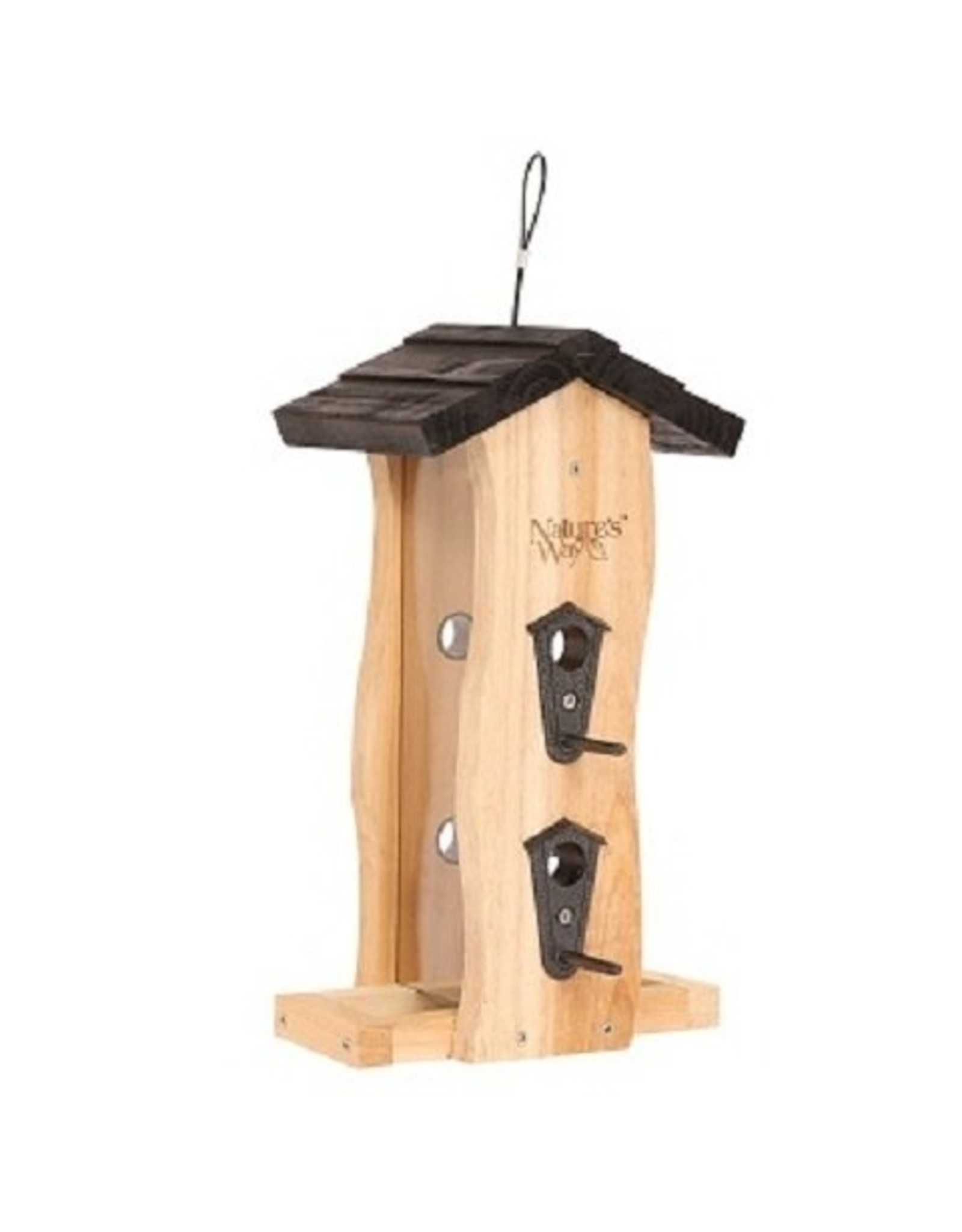 Wood Feeder, Hopper, Seed Feeder, Cedar, Vertical Wave, NWCWF5