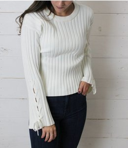 Rag Poets The Lynx Ribbed Lace-Up Sweater