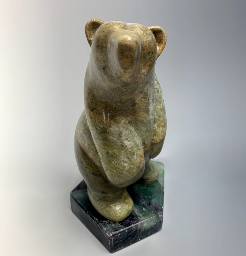 "- ""Stanley"" - The Soapstone Standing Bear on Fluorite  (#100)"