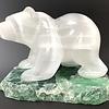 """Nanci"" Selenite Bear on Fluorite (#105)"