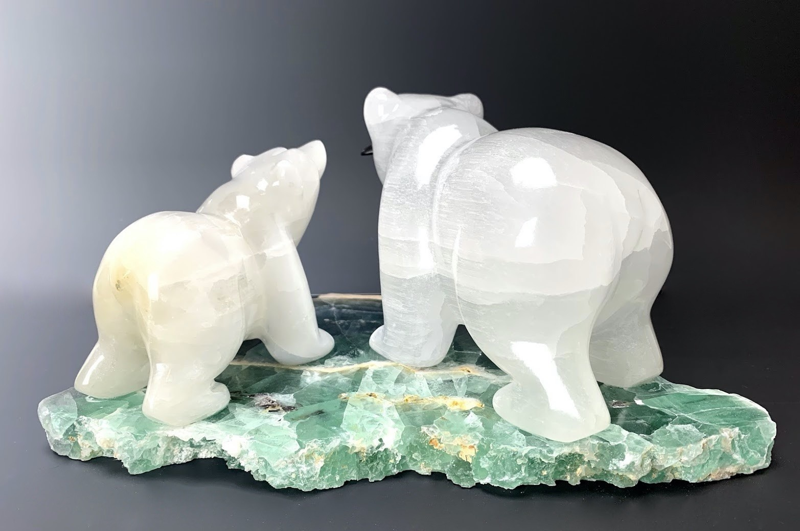 -John and Ash - Two Selenite Bears on Fluorite #109