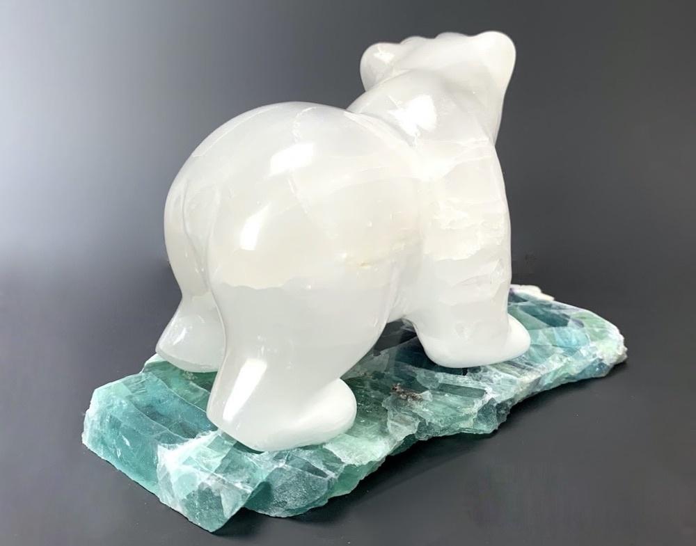 "- ""Jacob"" - The Selenite Hungry Bear on Fluorite (#115)"