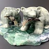"""""""Luke and Wes"""" The Soapstone Hungry Bears onFluorite (#116)"""