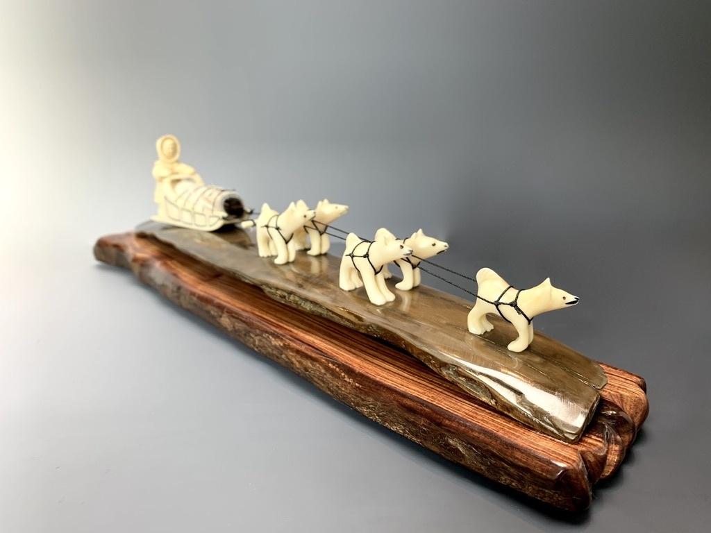 -Dog Sled- Fossilized Mammoth Ivory #129