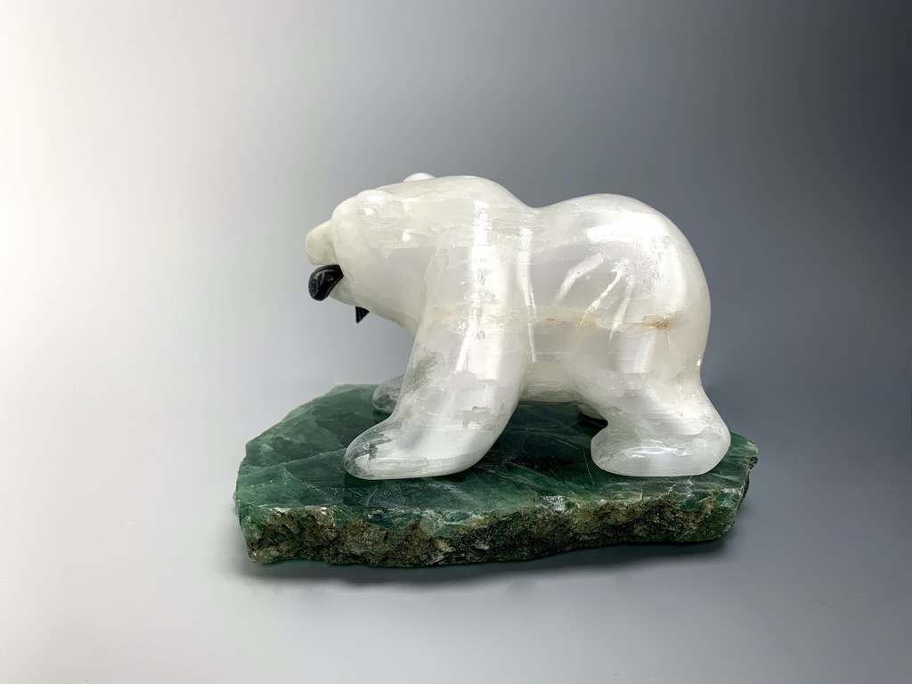 """Sophia"" The Selenite Hungry Bear Carving (#143)"