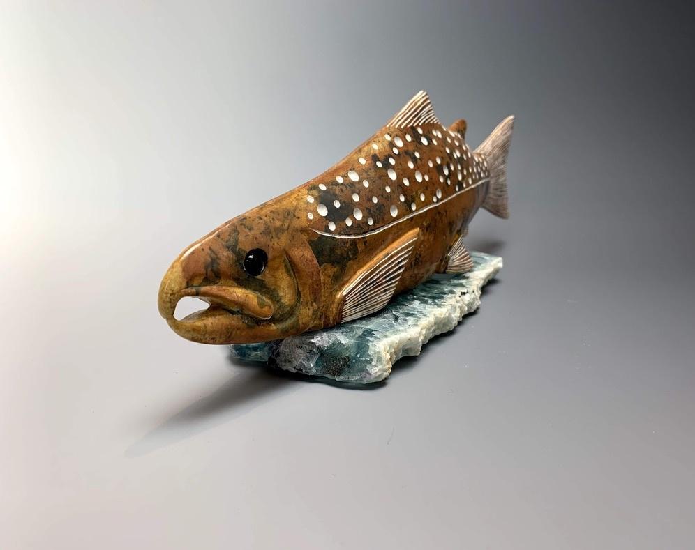 """""""Salmon"""" Soapstone Sculpture (#155)"""