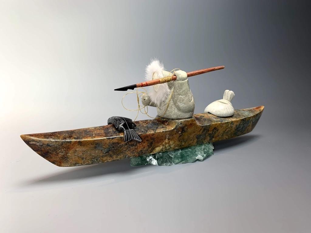 "- ""Kayaker"" - Soapstone #162"