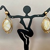 Orbiting - 22k gold in Quartz Earrings #192