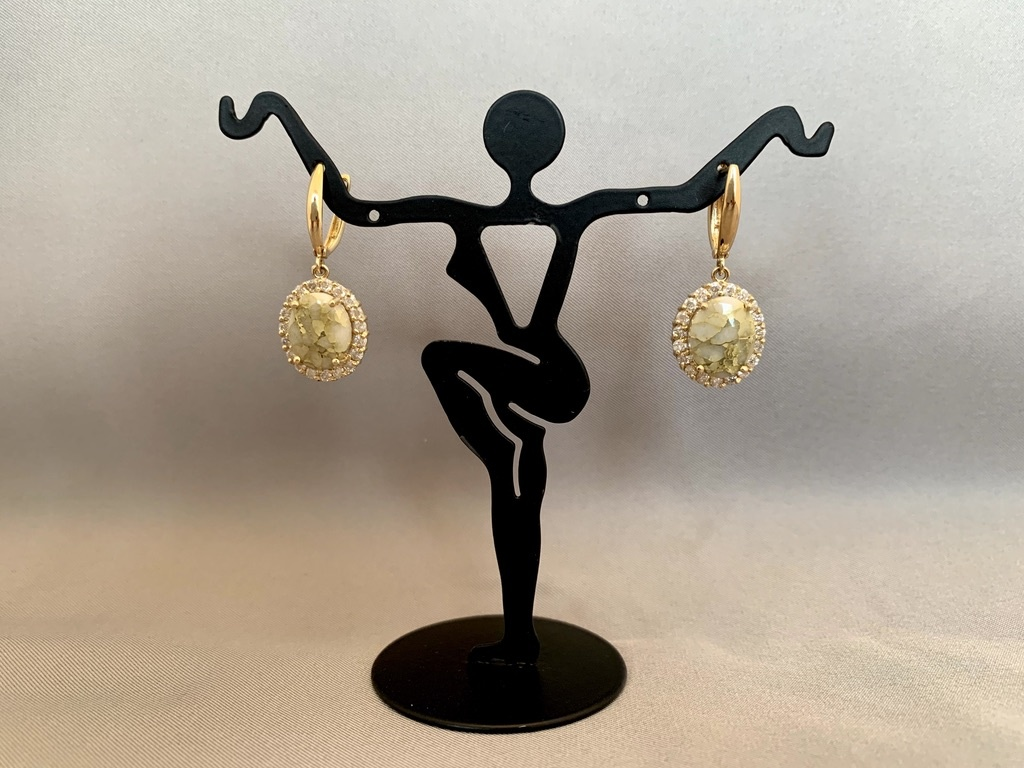 """Fancy Flower"" 22k gold in Quartz Earrings (#193)"