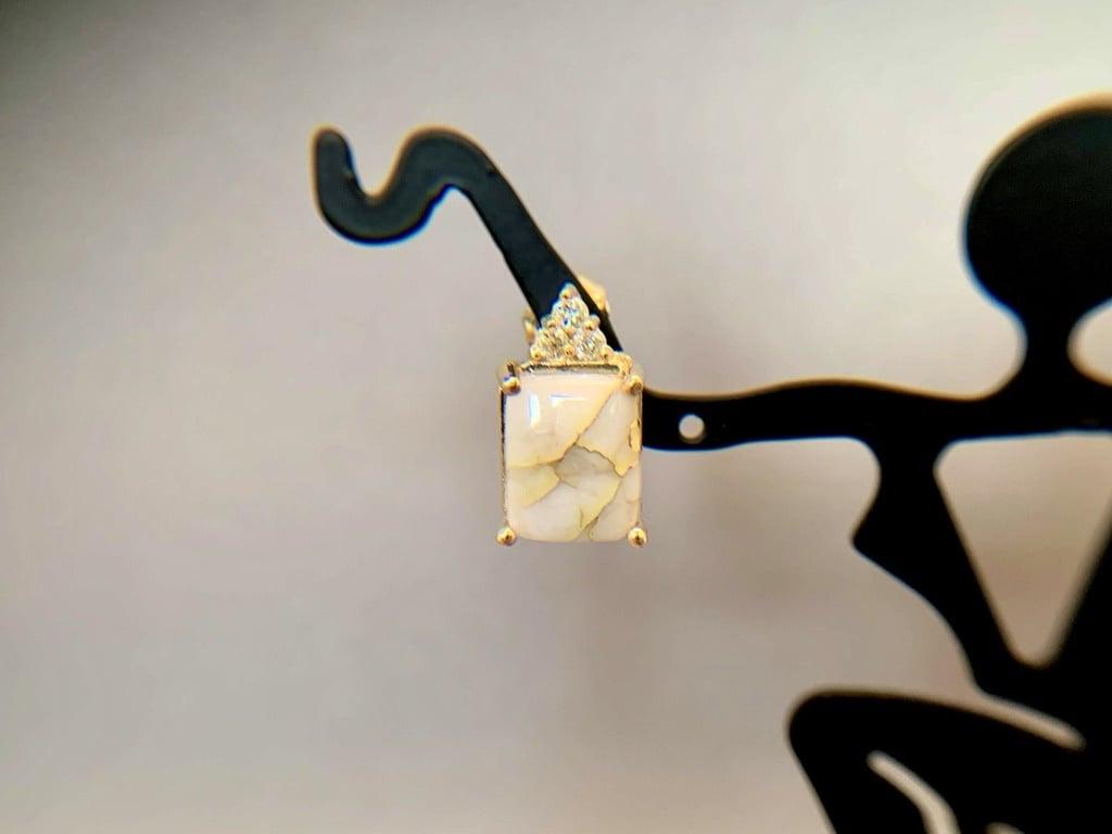 """""""Rectangle Studs"""" 22k Gold in Quartz Earrings (#195)"""