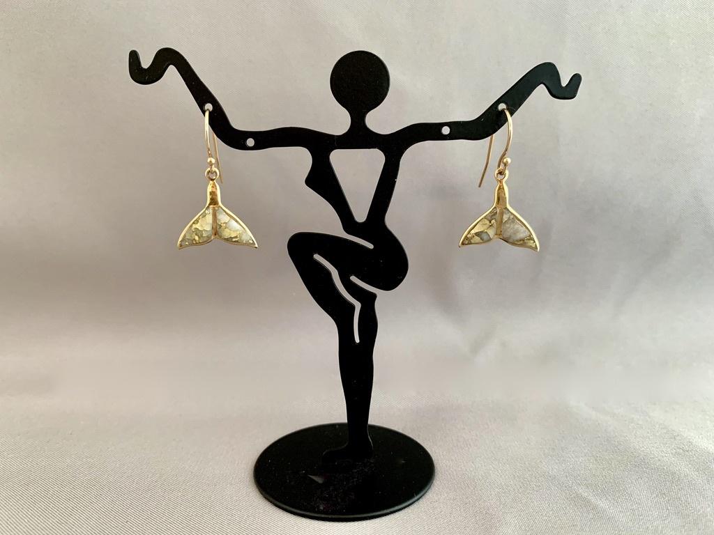 """""""Whale Fluke"""" 22K Gold in Quartz Earrings (#198)"""