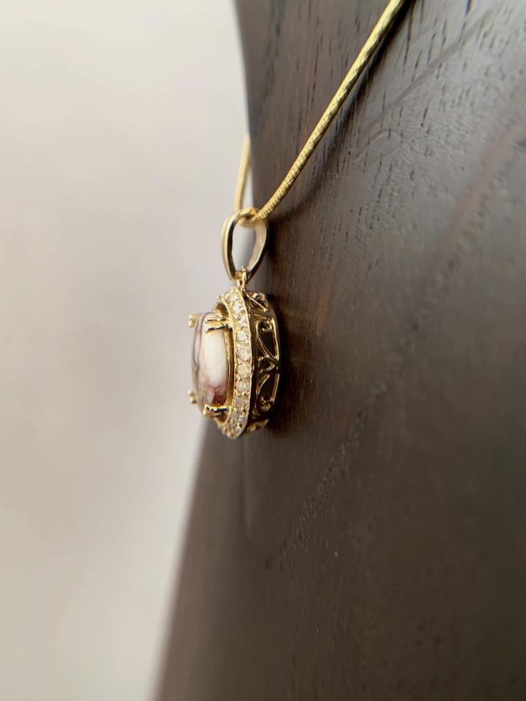 - Oval 22K Gold in Quartz Diamond Encircled Pendant -  (#200)