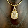 - Tear Drop Pendant with 3 Diamonds - 22K Gold in Quartz Pendant (#199)