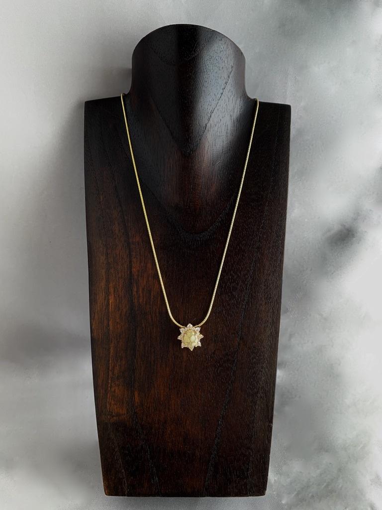 - Sparking Sun 22K Gold in Quartz and Diamond Pendant - (#201)