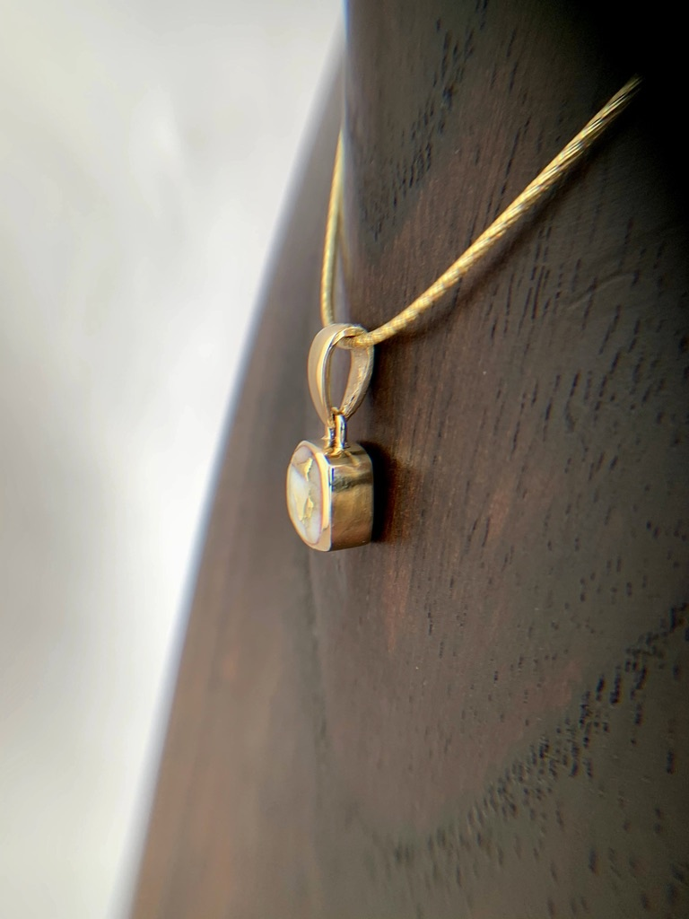 - Square 22K Gold in Quartz Pendant - (#202)