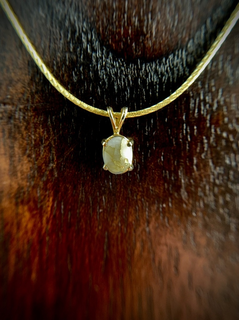 Simple Oval 22K Gold in Quartz Pendant (#204)